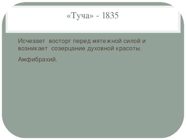 «Туча» - 1835 Исчезает восторг перед мятежной силой и возникает созерцание ду...