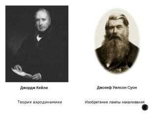 Теория аэродинамики Джордж Кейли Изобретениелампы накаливания Джозеф Уилсон