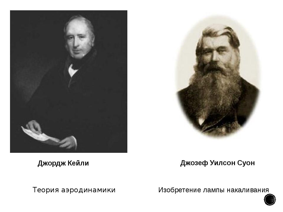 Теория аэродинамики Джордж Кейли Изобретениелампы накаливания Джозеф Уилсон...