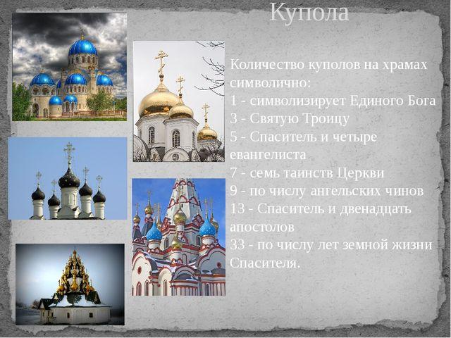 Купола Количество куполов на храмах символично: 1 - символизирует Единого Бог...