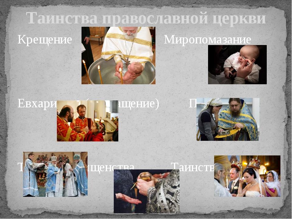Крещение Миропомазание Евхаристия (причащение) Покаяние Таинство священства Т...