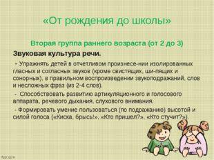 «От рождения до школы» Вторая группа раннего возраста (от 2 до 3) Звуковая ку