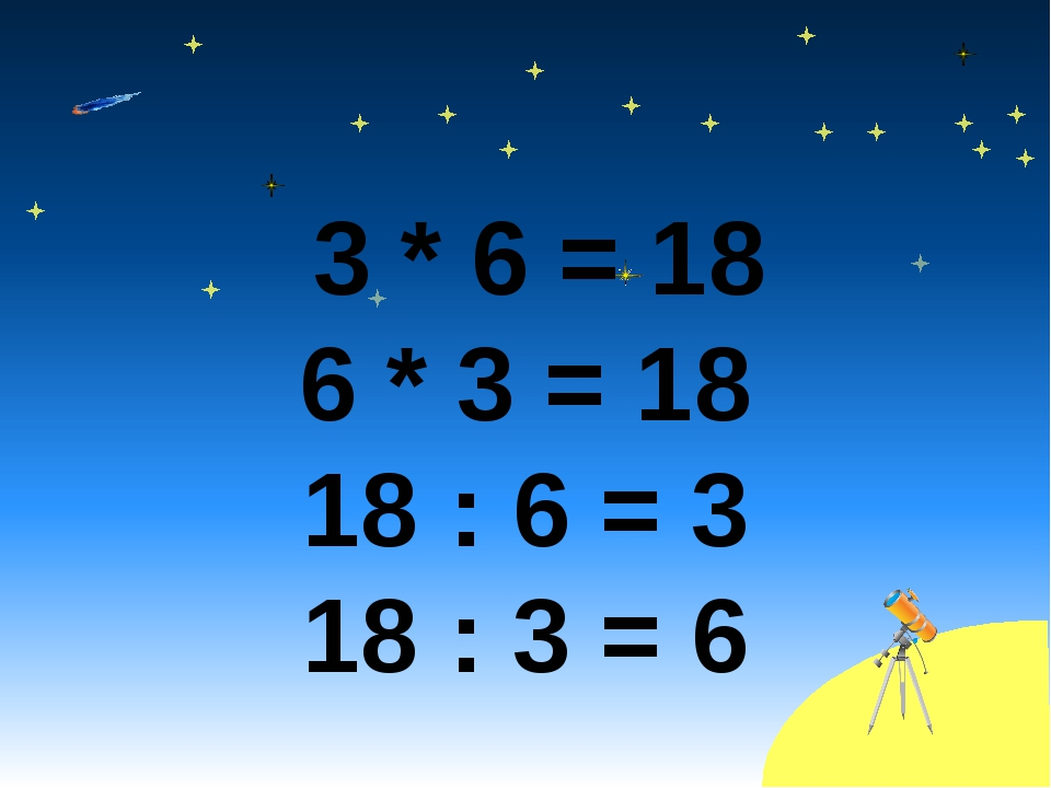 3 * 6 = 18 6 * 3 = 18 18 : 6 = 3 18 : 3 = 6