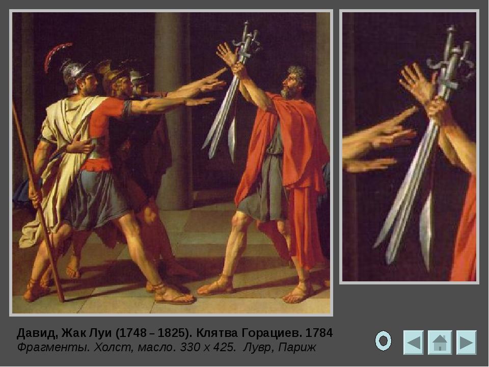 Давид, Жак Луи (1748 – 1825). Клятва Горациев. 1784 Холст, масло. 330 x 425....