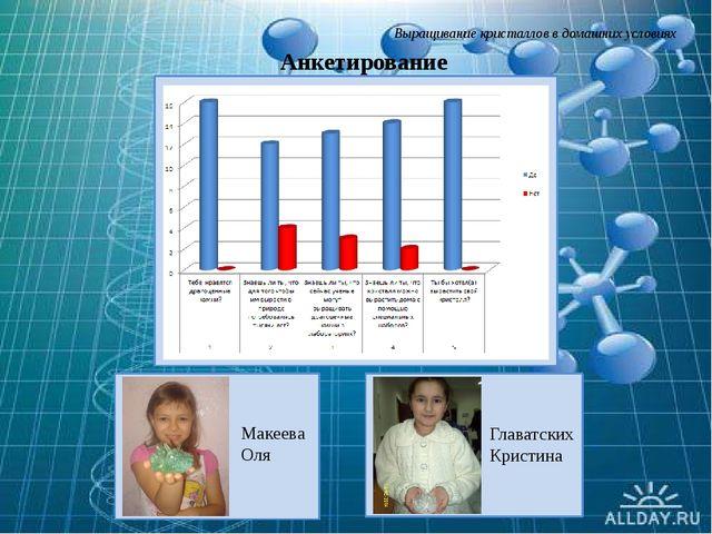 Выращивание кристаллов в домашних условиях Анкетирование Главатских Кристина...
