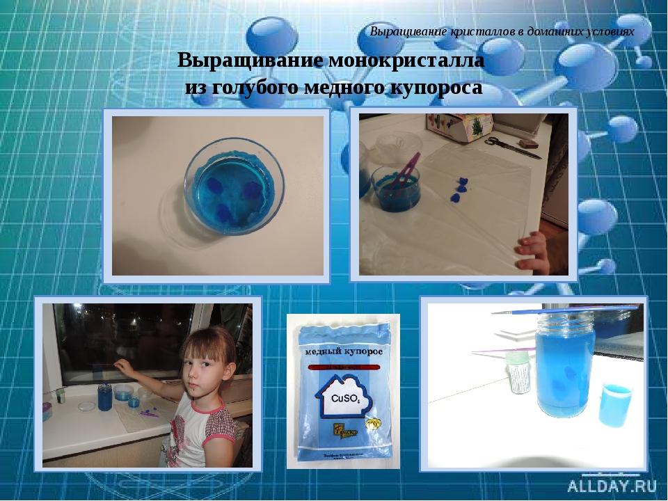 Выращивание кристаллов в домашних условиях Выращивание монокристалла из голуб...