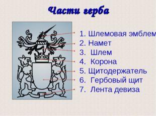 Части герба Шлемовая эмблема Намет Шлем Корона Щитодержатель Гербовый щит Лен