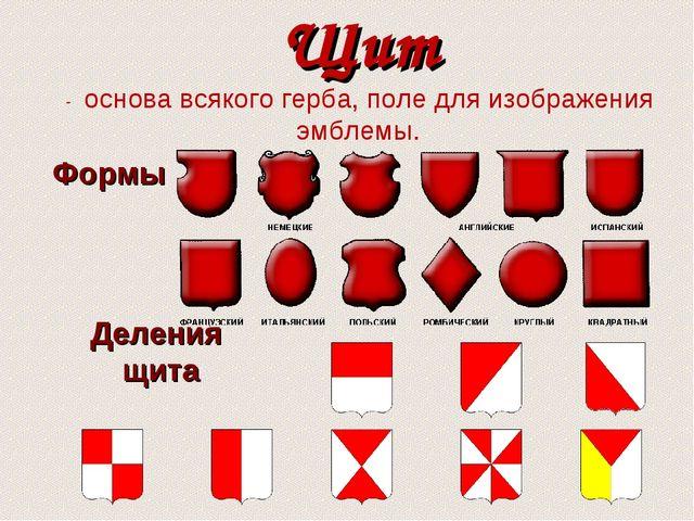 Щит - основа всякого герба, поле для изображения эмблемы. Формы Деления щита