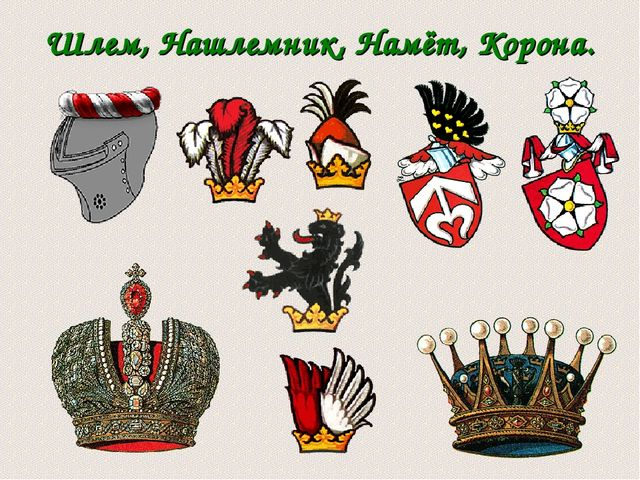 Шлем, Нашлемник, Намёт, Корона.