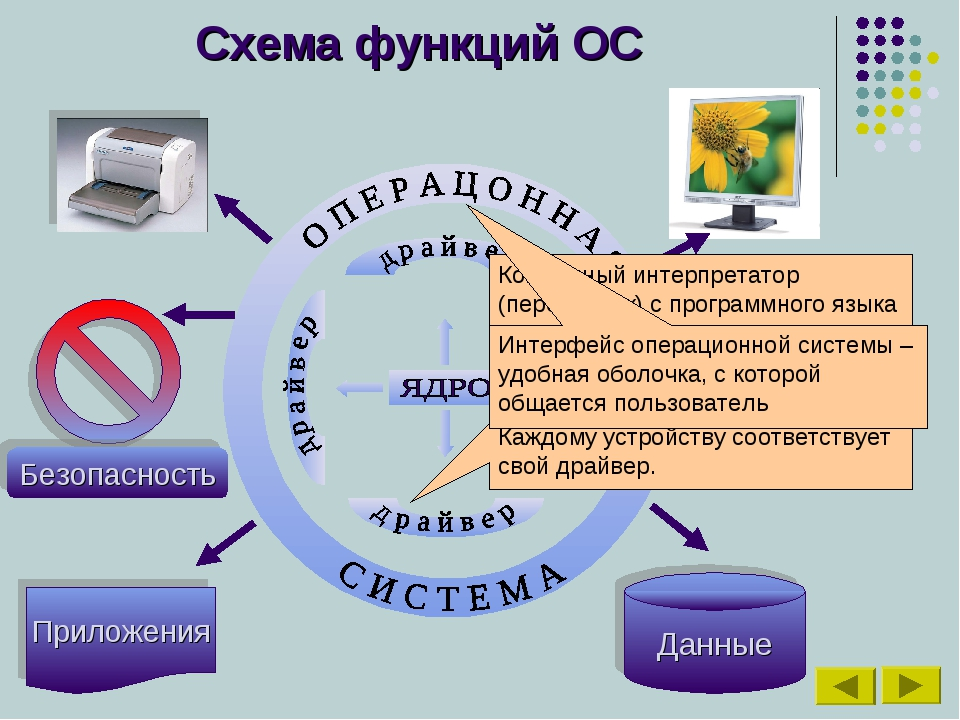 Схема функций ОС Приложения Данные Командный интерпретатор (переводчик) с про...