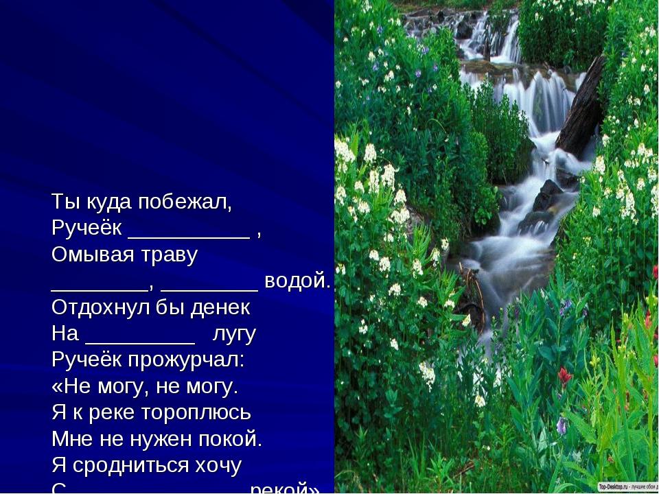 Ты куда побежал, Ручеёк __________ , Омывая траву ________, ________ водой....