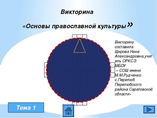 Викторина «Основы православной культуры» Тема 1 Викторину составила Щирова Н...