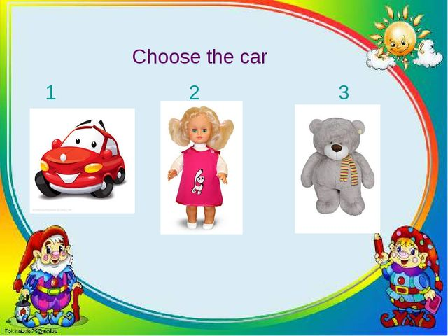 Choose the car 1 2 3