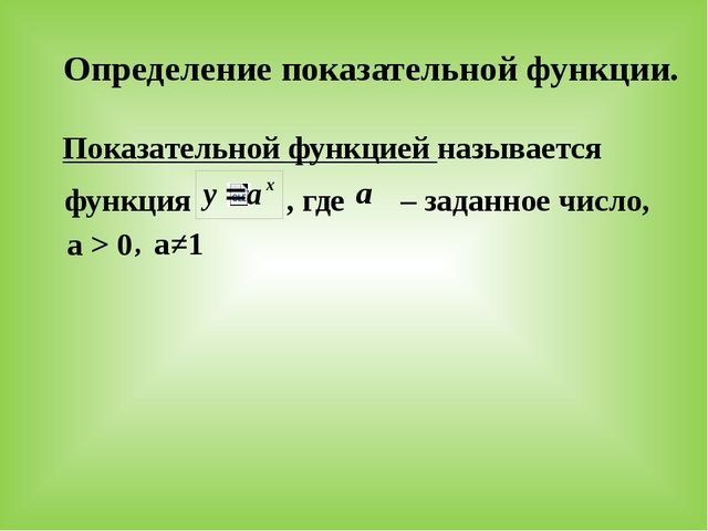 Определение показательной функции. Показательной функцией называется функция...
