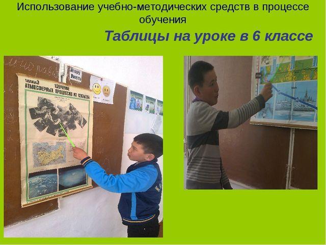 Использование учебно-методических средств в процессе обучения Таблицы на урок...