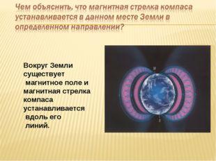 Вокруг Земли существует магнитное поле и магнитная стрелка компаса устанавлив