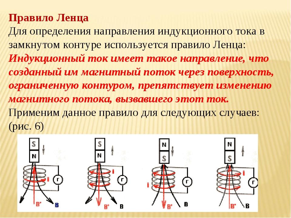 Правило Ленца Для определения направления индукционного тока в замкнутом конт...