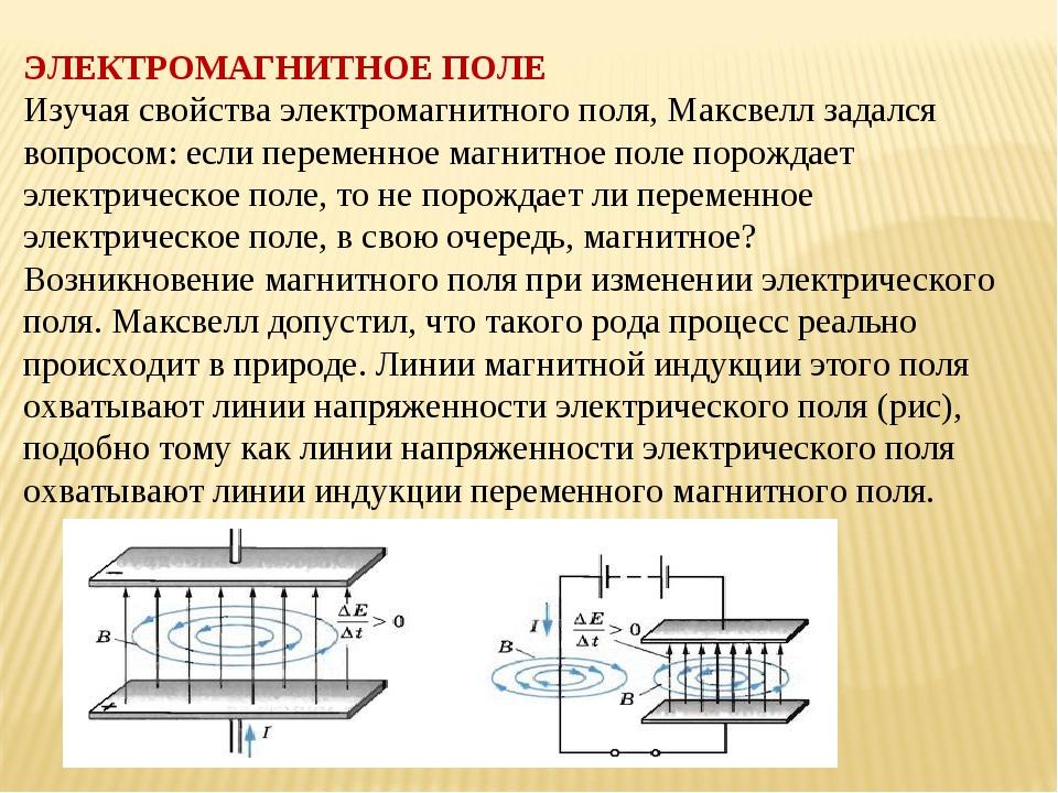 ЭЛЕКТРОМАГНИТНОЕ ПОЛЕ Изучая свойства электромагнитного поля, Максвелл задалс...
