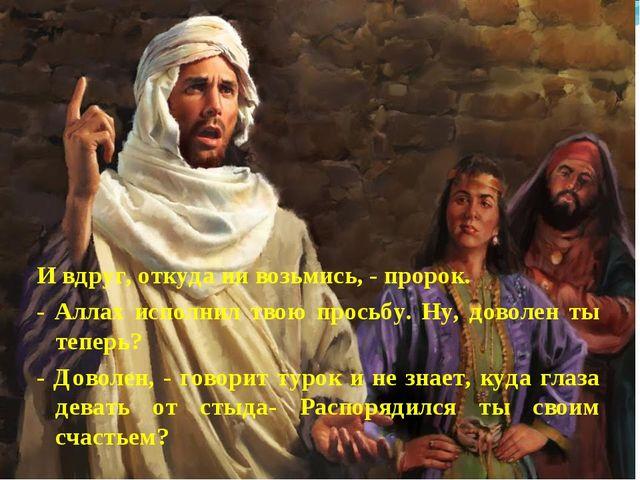 И вдруг, откуда ни возьмись, - пророк. - Аллах исполнил твою просьбу. Ну, дов...