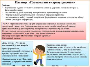 Пятница «Путешествие в страну здоровья» Задачи: Формировать у детей осознанно