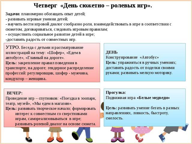 Четверг «День сюжетно – ролевых игр». Задачи: планомерно обогащать опыт детей...