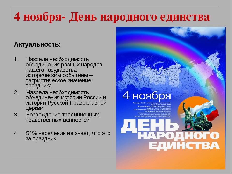 4 ноября- День народного единства Актуальность: 1. Назрела необходимость объе...