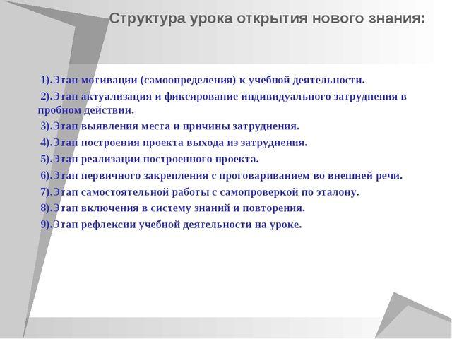 Структура урока открытия нового знания: 1).Этап мотивации (самоопределения) к...