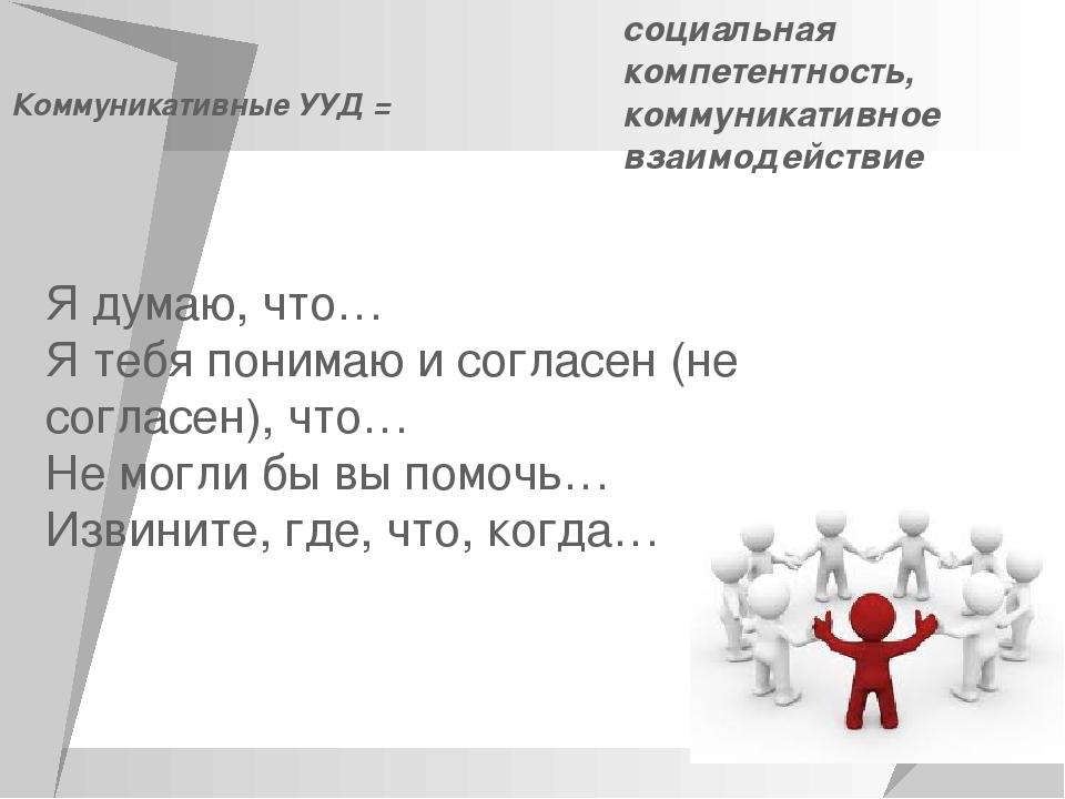 Коммуникативные УУД = социальная компетентность, коммуникативное взаимодейств...