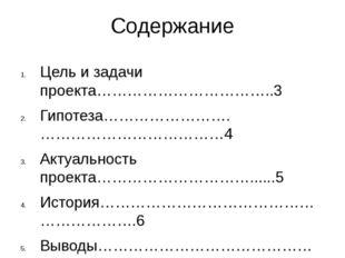 Содержание Цель и задачи проекта……………………………..3 Гипотеза…………………….………………………………4