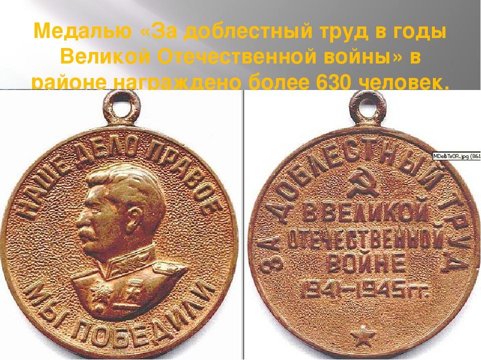 Медалью «За доблестный труд в годы Великой Отечественной войны» в районе нагр...