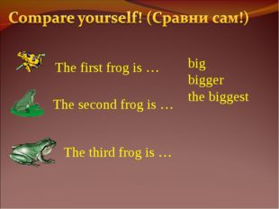 The first frog is … The second frog is … The third frog is … big bigger the b