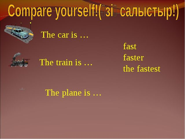 The car is … The train is … The plane is … fast faster the fastest