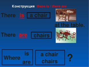 There are is a chair chairs a chair at the table. Where is are chairs ? There