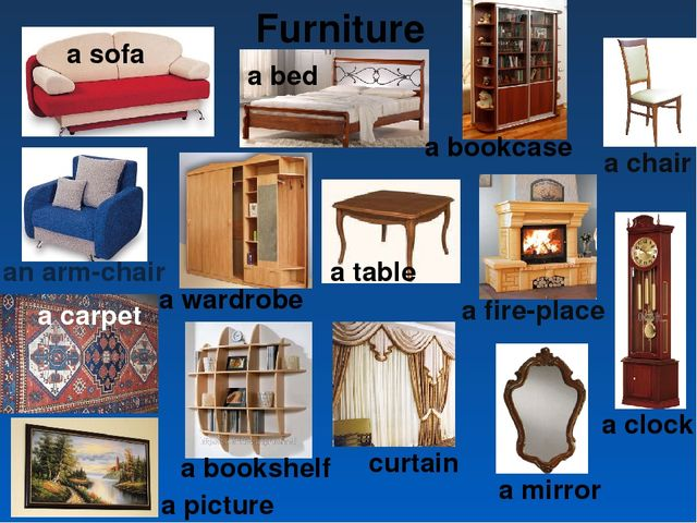Furniture a sofa a bed a bookcase a chair a carpet a picture a clock a fire-p...