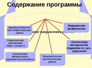 Основные направления работы Здоровьесберегаю- щая инфраструктура школы Рацио