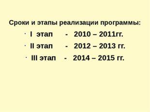 Сроки и этапы реализации программы: І этап - 2010 – 2011гг. ІІ этап