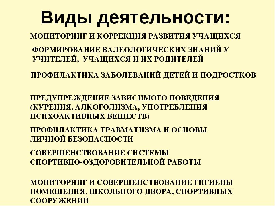 МОНИТОРИНГ И КОРРЕКЦИЯ РАЗВИТИЯ УЧАЩИХСЯ ФОРМИРОВАНИЕ ВАЛЕОЛОГИЧЕСКИХ ЗНАНИЙ...