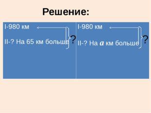 ? ? Решение: I-980км II-?На65 км больше I-980км II-?Наакм больше