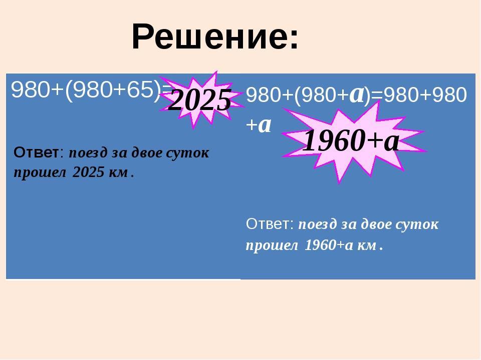 Решение: 2025 1960+а Ответ: поезд за двое суток прошел 2025 км. 980+(980+65)=...
