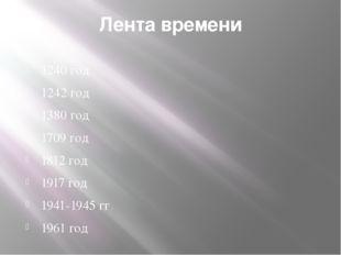 Лента времени 1240 год 1242 год 1380 год 1709 год 1812 год 1917 год 1941-1945