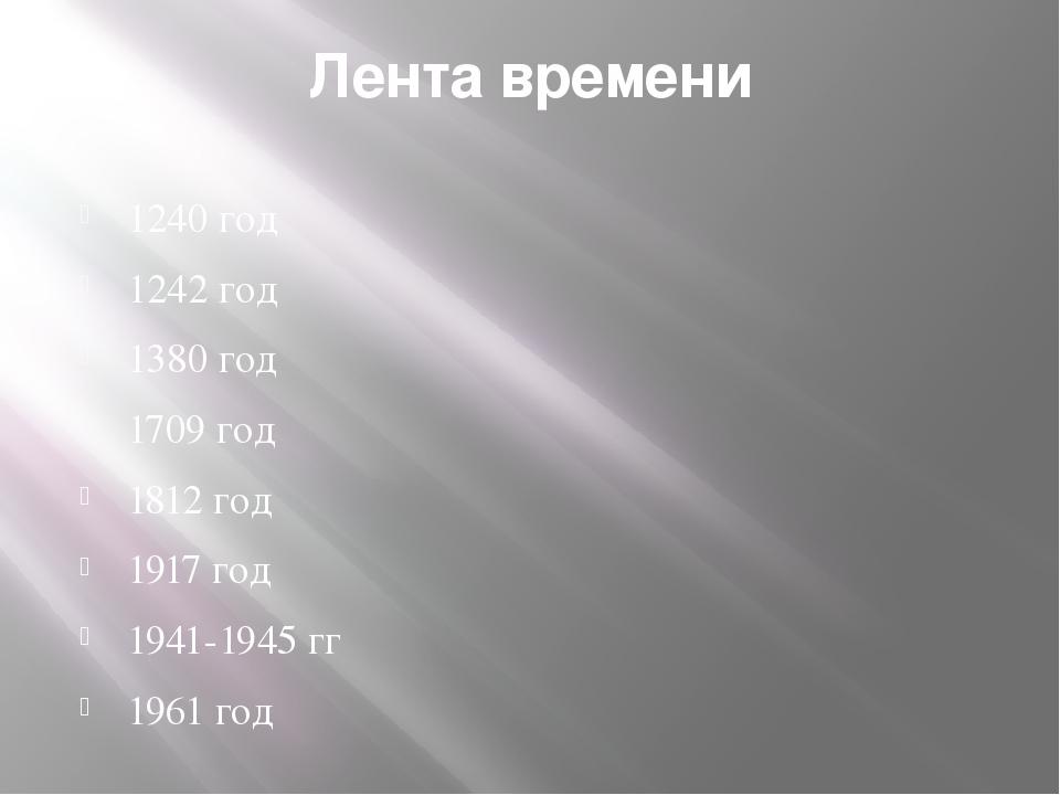 Лента времени 1240 год 1242 год 1380 год 1709 год 1812 год 1917 год 1941-1945...