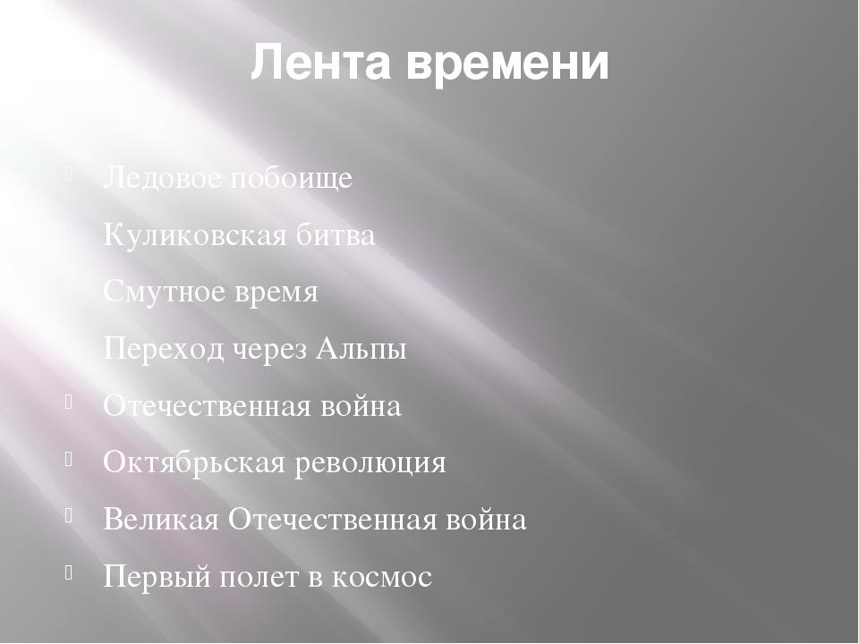 Лента времени Ледовое побоище Куликовская битва Смутное время Переход через А...