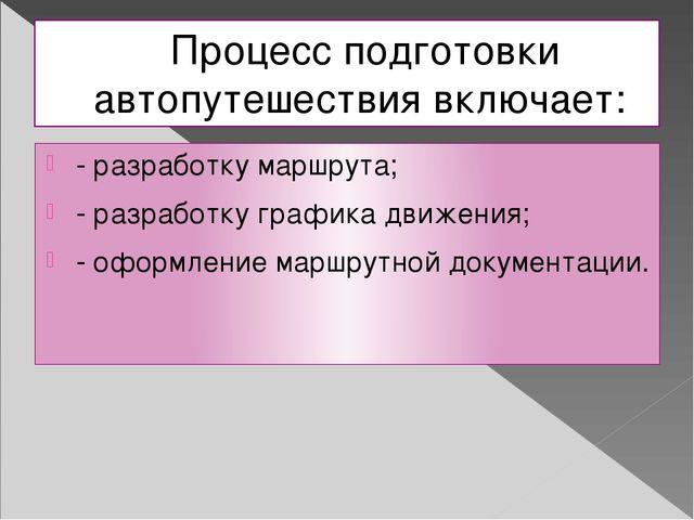 Процесс подготовки автопутешествия включает: - разработку маршрута; - разрабо...