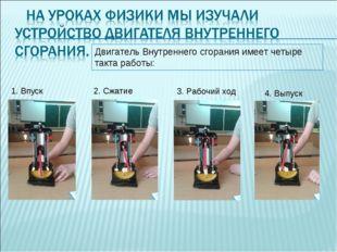 Двигатель Внутреннего сгорания имеет четыре такта работы: 1. Впуск 2. Сжатие
