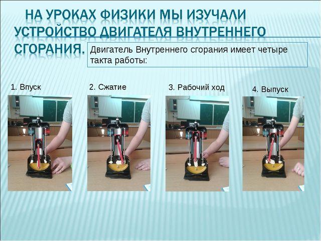 Двигатель Внутреннего сгорания имеет четыре такта работы: 1. Впуск 2. Сжатие...