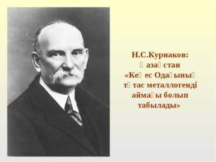 Н.С.Курнаков: Қазақстан «Кеңес Одағының тұтас металлогенді аймағы болып табы