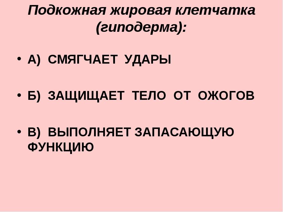 Подкожная жировая клетчатка (гиподерма): А) СМЯГЧАЕТ УДАРЫ Б) ЗАЩИЩАЕТ ТЕЛО О...