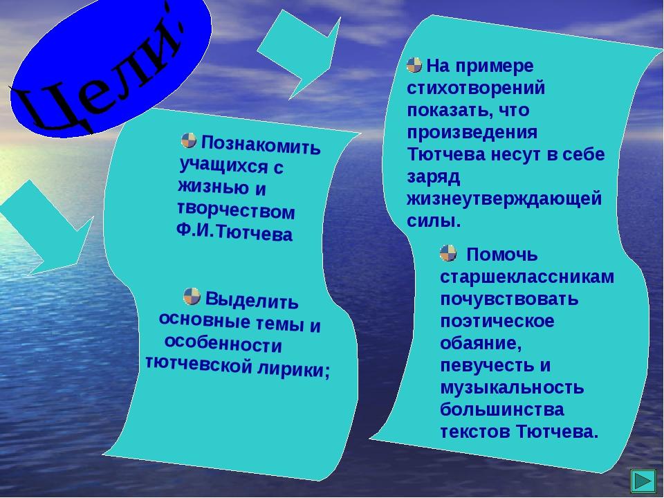 Познакомить учащихся с жизнью и творчеством Ф.И.Тютчева Выделить основные те...