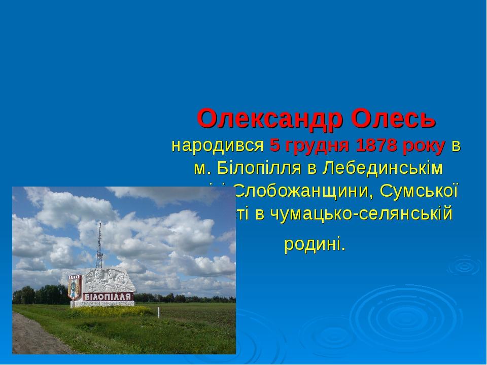 Олександр Олесь народився 5 грудня 1878 року в м. Білопілля в Лебединськім по...