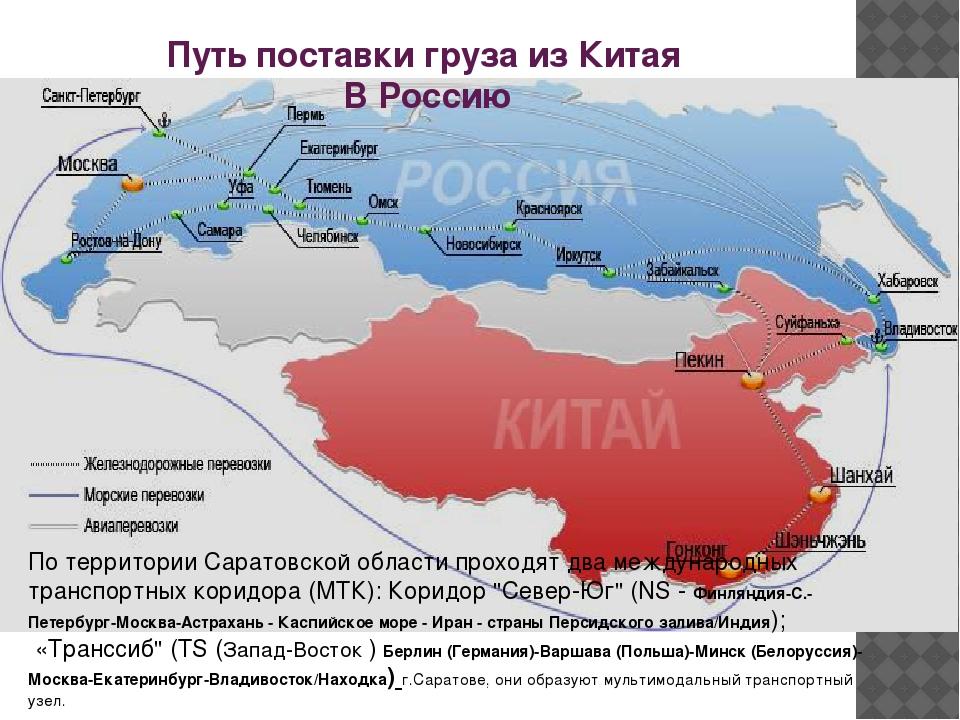 Путь поставки груза из Китая В Россию По территории Саратовской области прохо...